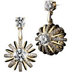 18 Karat Gold Dangle Diamond Snowflake Earrings