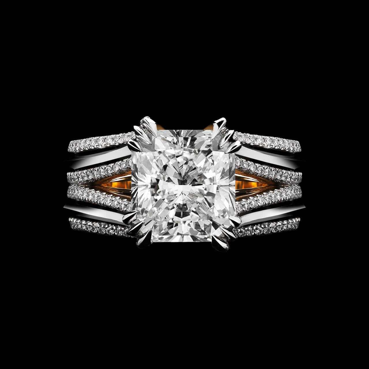 *This design is available with center diamonds weighing from 1ct - 10 cts and larger. Please contact us for more information on this piece or on creating your own custom Alexandra Mor Design.    An Alexandra Mor engagement ring featuring a GIA