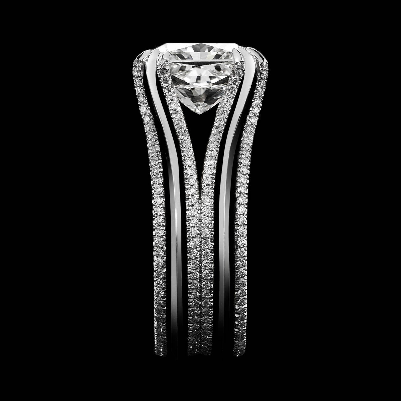 Alexandra Mor Double-Shank Floating Radiant-Cut Diamond Gold Platinum Ring In New Condition For Sale In New York, NY