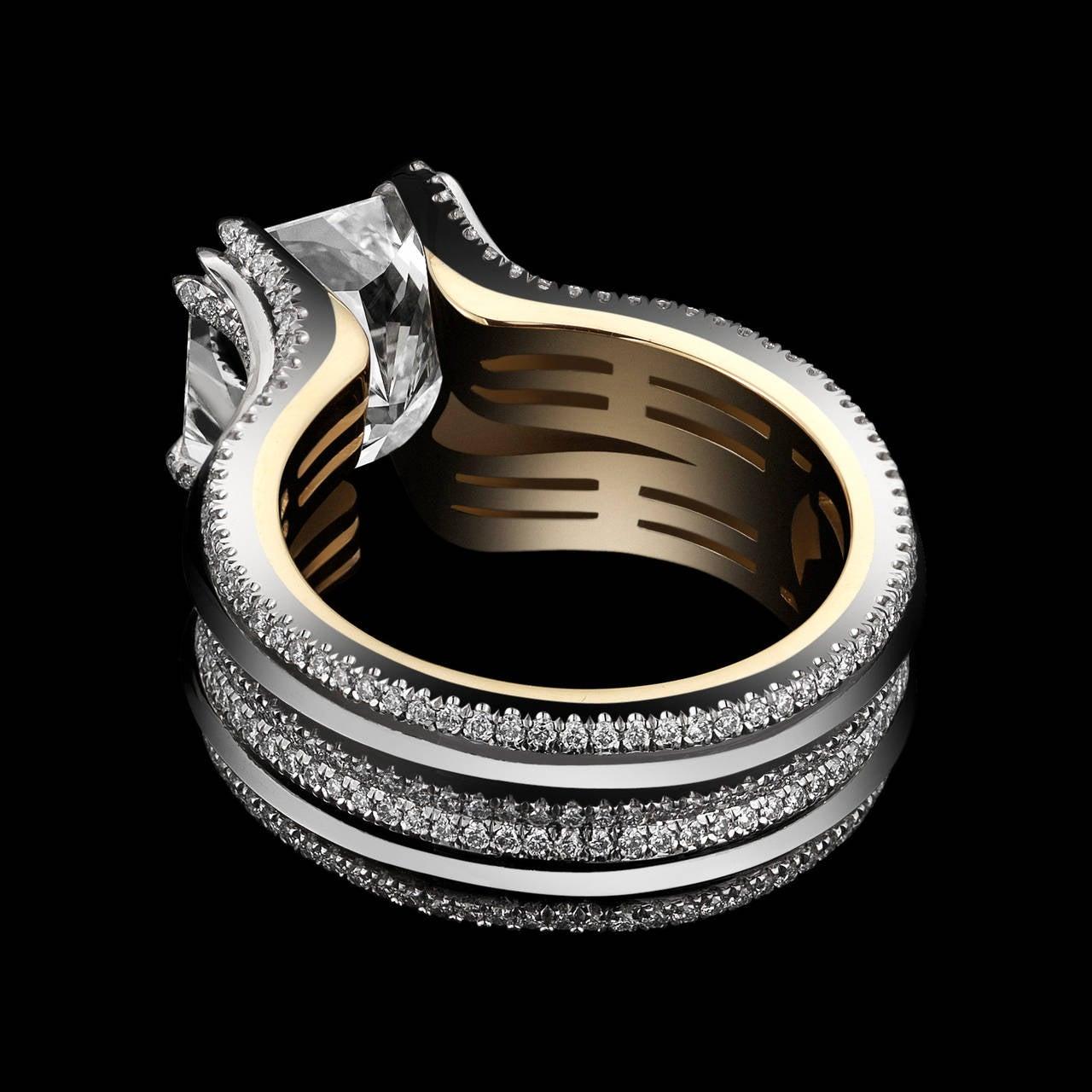 Women's or Men's Alexandra Mor Double-Shank Floating Radiant-Cut Diamond Gold Platinum Ring For Sale