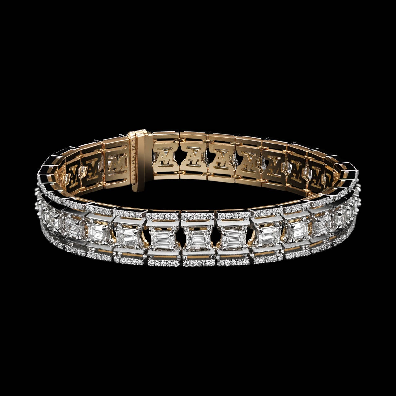 *Please contact us for more information on this piece or on creating your own Alexandra Mor custom Design.   An Alexandra Mor Emerald cut diamond platform bracelet with Alexandra Mor signature details of 1mm Diamond melee and knife-edged wires. 8.51