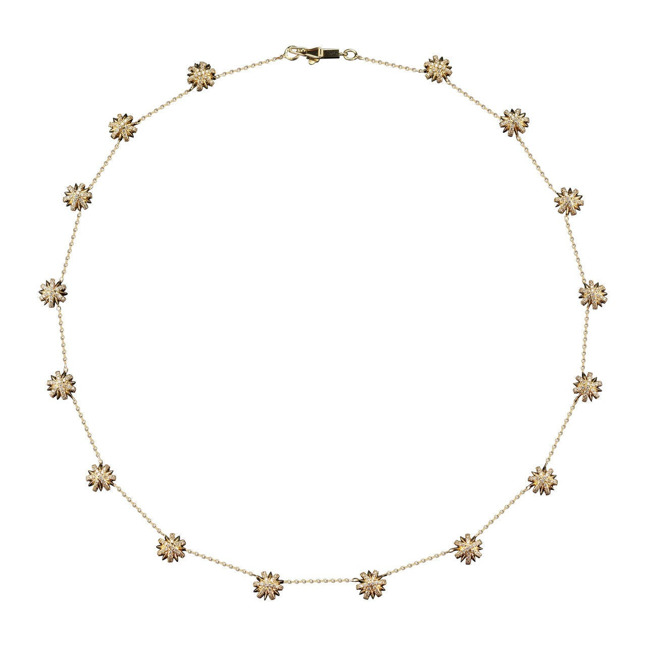 Alexandra Mor Necklace with Diamond Yellow Gold Snowflake Elements Chain