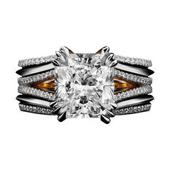 Double-Shank Floating Radiant-Cut Diamond Ring