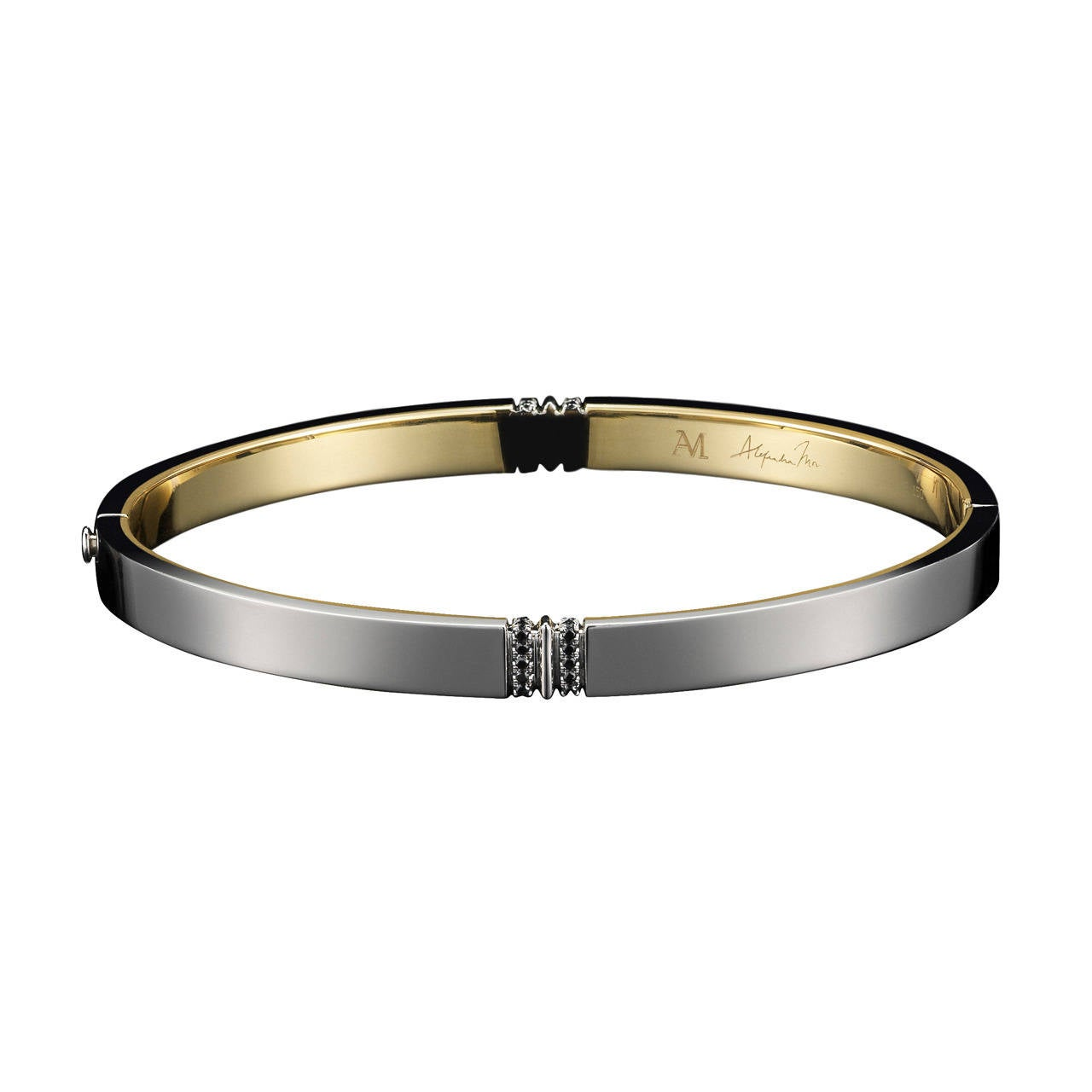 Alexandra Mor Oval-Shaped Narrow Black Diamond Gold Platinum Cuff