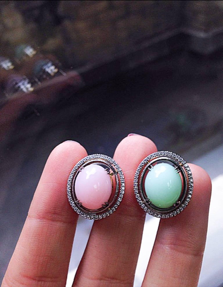 Women's Alexandra Mor Green and Pink Cabochon Opal with Diamond Jacket Earrings For Sale