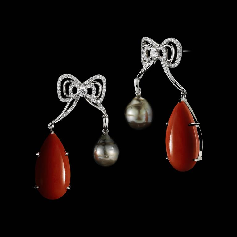 Alexandra Mor Coral and Pearl Diamond Medi Bow Earrings 2