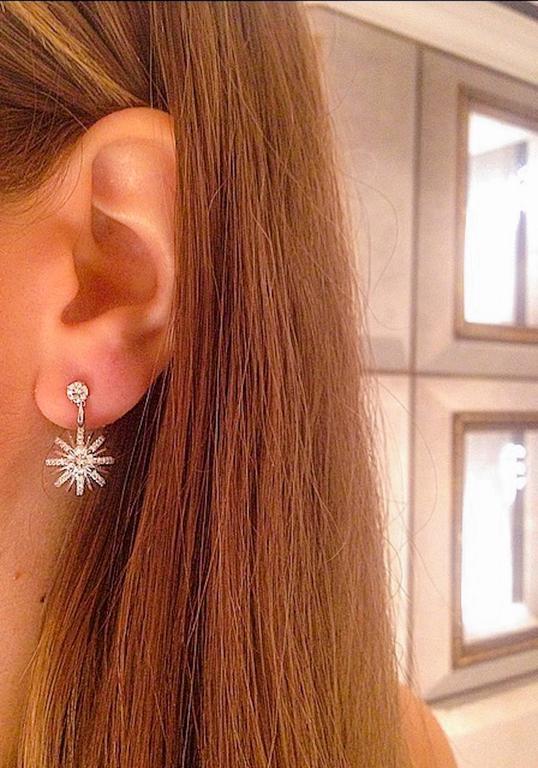 Contemporary Alexandra Mor Dangling Diamond Snowflake Earrings For Sale