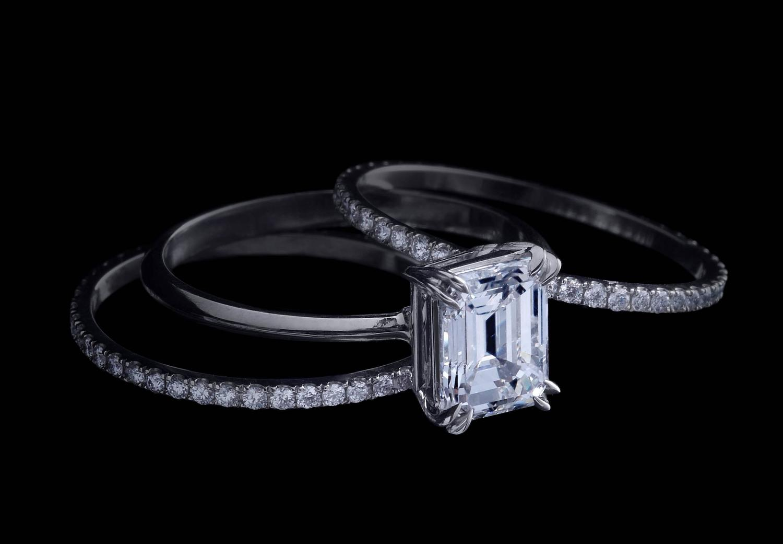 Alexandra Mor Diamond Three Ring Set 2 02 E VS1 GIA Center For Sale at 1s