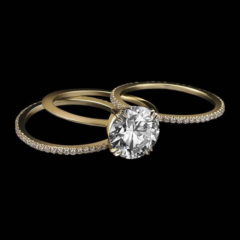 Contemporary Alexandra Mor 1.50 Carat GIA Certified Diamond Centre Engagement Three-Ring Set For Sale