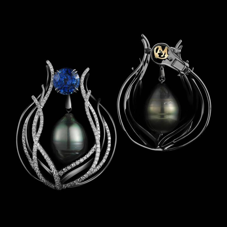 Contemporary Alexandra Mor Tahitian Pearl Sapphire Gold Curved Earrings For Sale