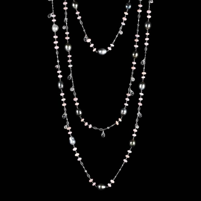 Alexandra Mor Sautoir Necklace with Baroque Tahitian Pearls Pink Opal Diamond 2
