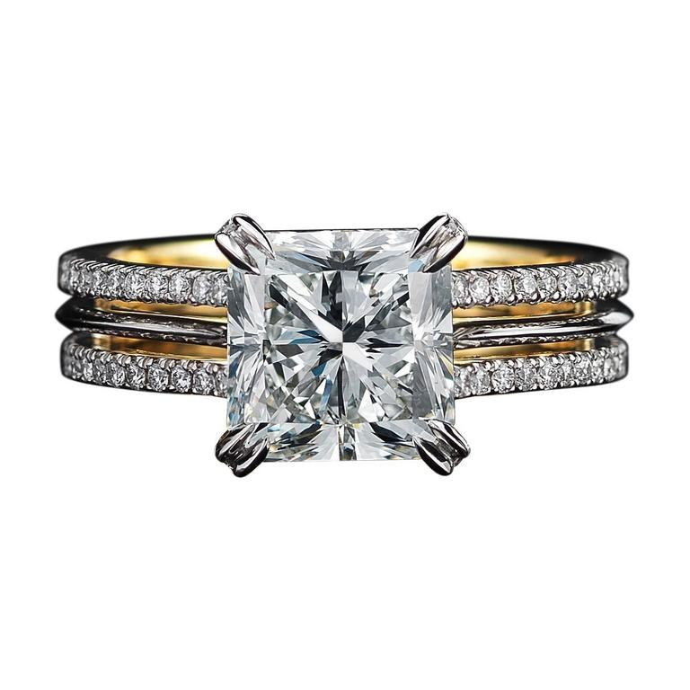Alexandra Mor Signature Radiant-Cut Diamond Gold Platinum Ring For Sale