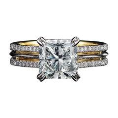 Alexandra Mor Signature Radiant-Cut Diamond Gold Platinum Ring