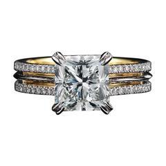 Alexandra Mor Signature Radiant-Cut Diamond Gold Platinum Ring