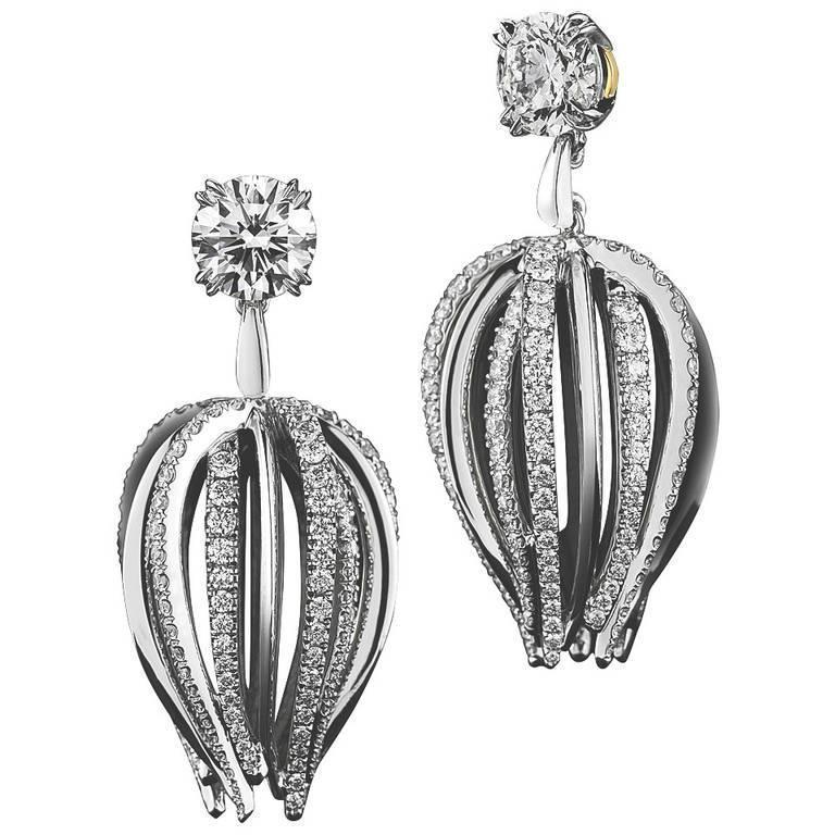 Alexandra Mor Petite Curved Waist Diamond Gold Platinum Earrings