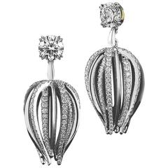 Alexandra Mor Petite Curved Waist Diamond Gold Platinum Earrings