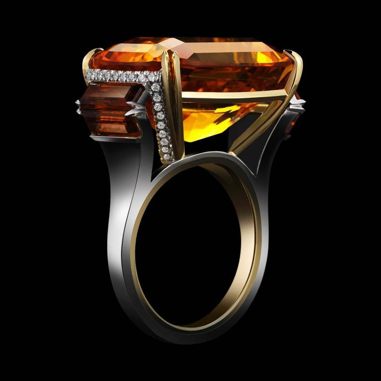 Contemporary Alexandra Mor Cushion Cut Palmeira Citrine Diamond Gold Platinum Ring For Sale