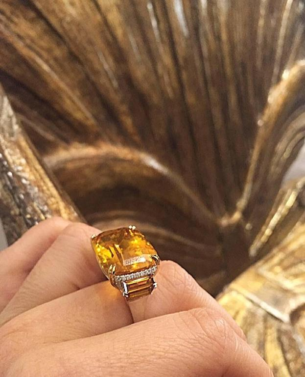 Alexandra Mor Cushion Cut Palmeira Citrine Diamond Gold Platinum Ring In As New Condition For Sale In New York, NY