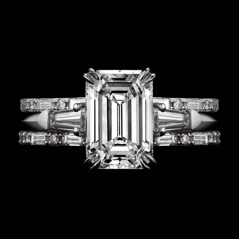 *This design is available with center diamonds weighing from 1ct - 10 cts and larger. Please contact us for more information on this piece or on creating your own custom Alexandra Mor Design.    Alexandra Mor Three ring Emerald Cut Diamond and