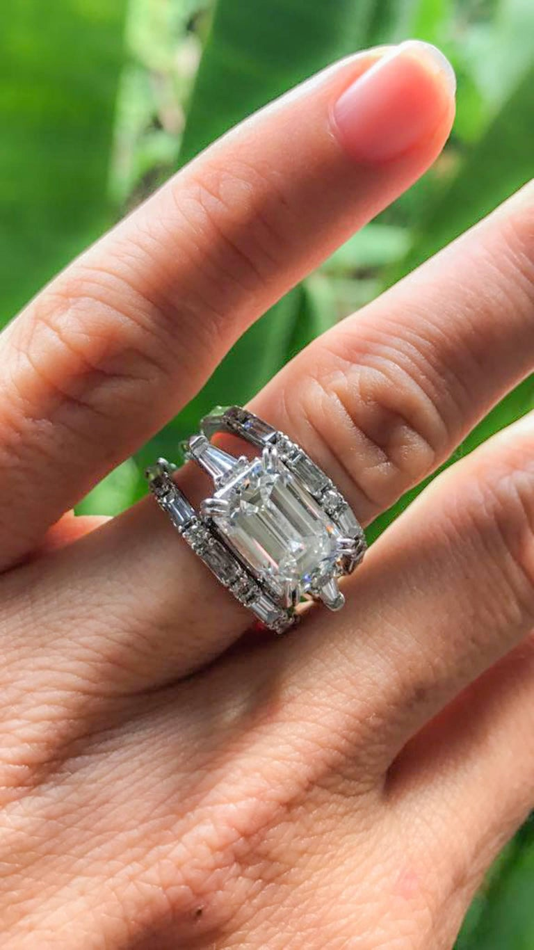 Alexandra Mor Three Ring Emerald Cut Diamond and Baguette Engagement Ring 5