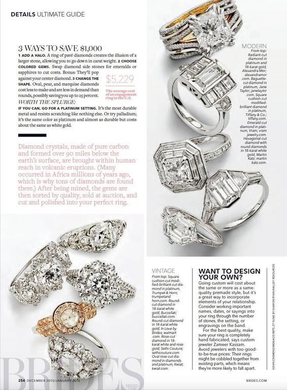 Alexandra Mor Double-Shank Floating Radiant-Cut Diamond Gold Platinum Ring For Sale 3