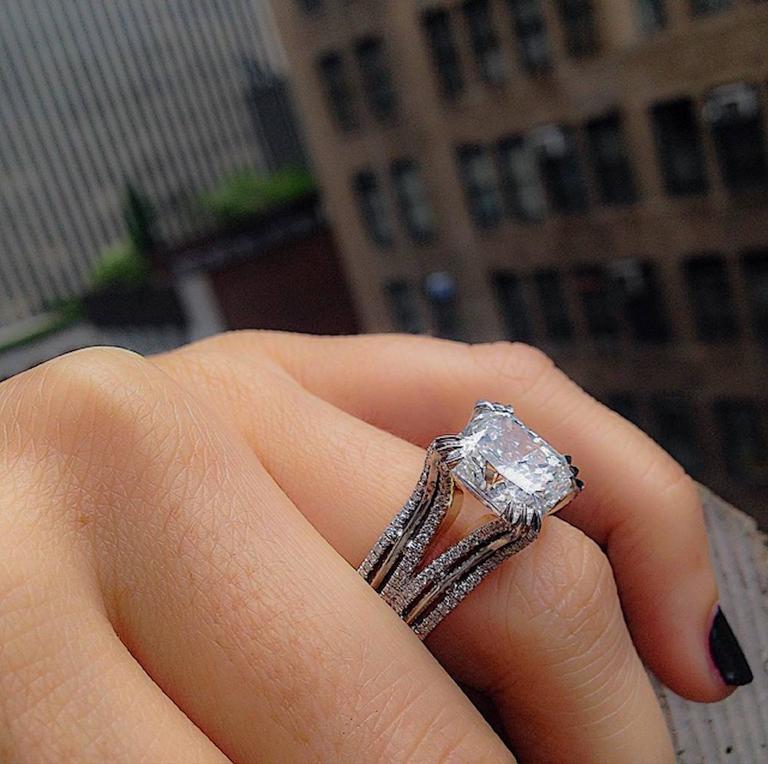 Alexandra Mor Double-Shank Floating Radiant-Cut Diamond Gold Platinum Ring For Sale 1