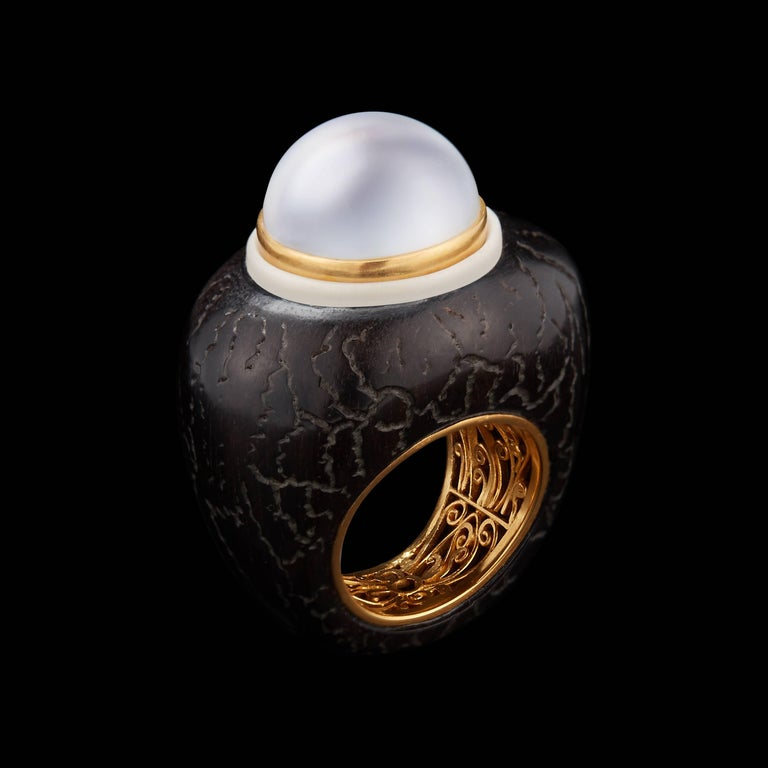 Alexandra Mor Ring with Majestic White Baroque South-Sea Pearl and Tagua Seed 2
