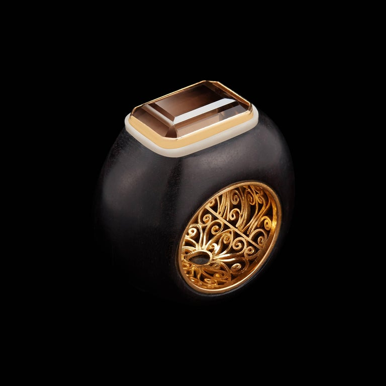 Alexandra Mor Emerald-Cut Smokey Topaz and Wild-Harvested Tagua Seed Ring 2