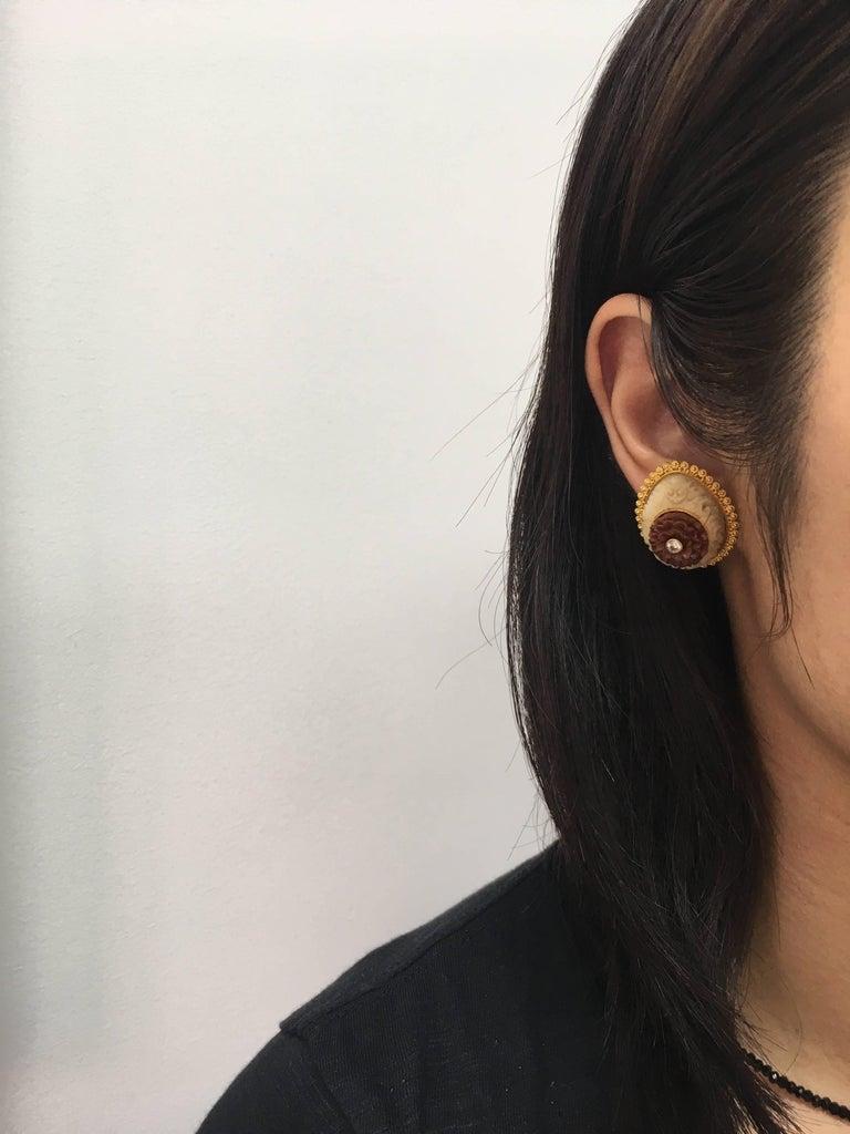 Wild-Harvested Tagua Seed Kayonan with Sawo Wood Lotus and Diamond Stud Earrings 5