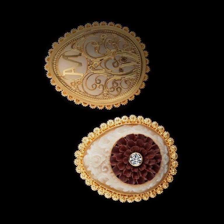 Wild-Harvested Tagua Seed Kayonan with Sawo Wood Lotus and Diamond Stud Earrings 2