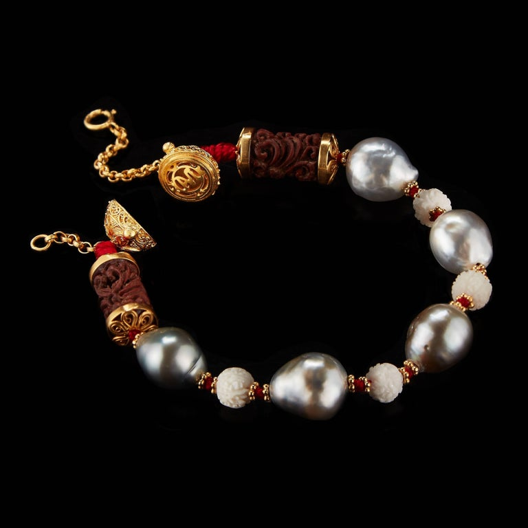 Alexandra Mor Bracelet with Wild-Harvested Tagua Seed, Sawo Wood, Baroque Pearls 2