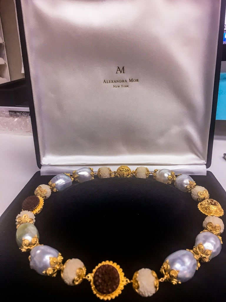 Alexandra Mor Necklace with Tagua, Sawo Wood and Baroque South Sea Pearl 3
