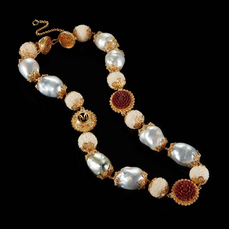 Alexandra Mor Necklace with Tagua, Sawo Wood and Baroque South Sea Pearl 2