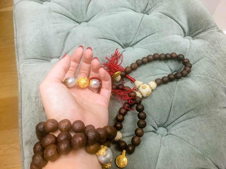 Alexandra Mor 108 Bead Buddhist Mala Necklace with Tagua and Nepali Bodhi Beads 3