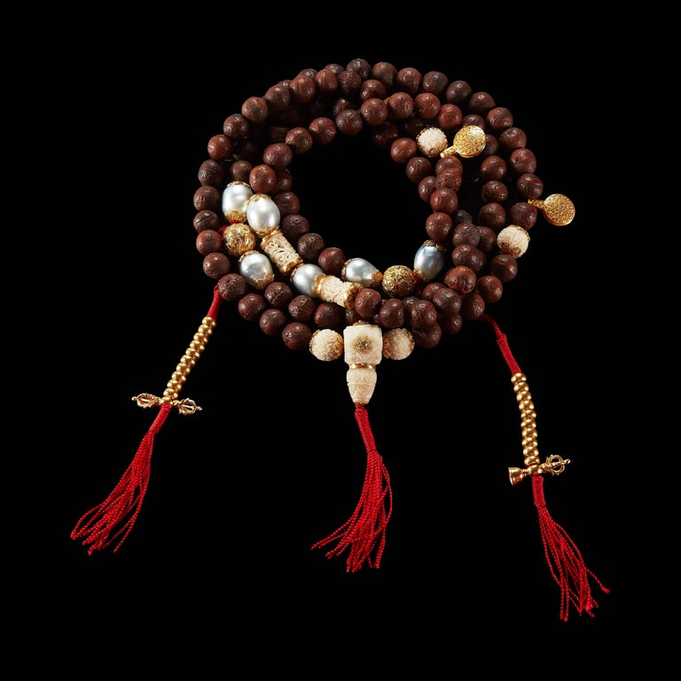Alexandra Mor 108 Bead Buddhist Mala Necklace with Tagua and Nepali Bodhi Beads 2