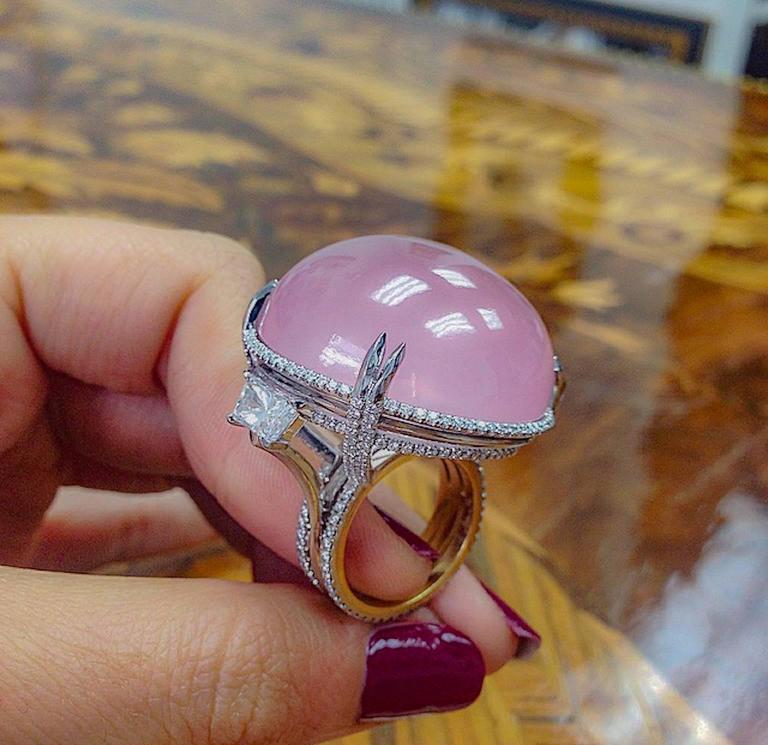 Alexandra Mor Rose Quartz Cabochon Diamond Gold Platinum Slanted Ring 6