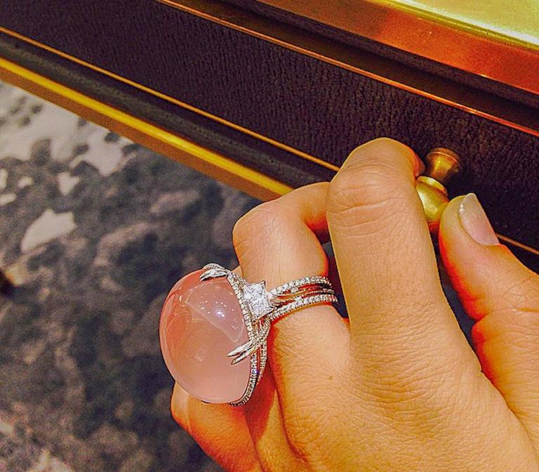 Alexandra Mor Rose Quartz Cabochon Diamond Gold Platinum Slanted Ring 7