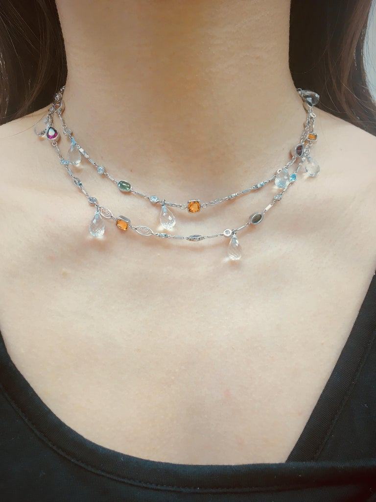 Contemporary Alexandra Mor Sautoir Necklace with Color Gemstone, Diamond and White Briolette For Sale
