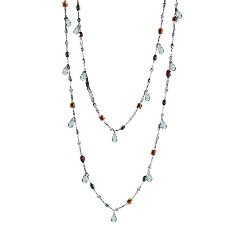 Alexandra Mor Sautoir Necklace with Color Gemstone, Diamond and White Briolette For Sale