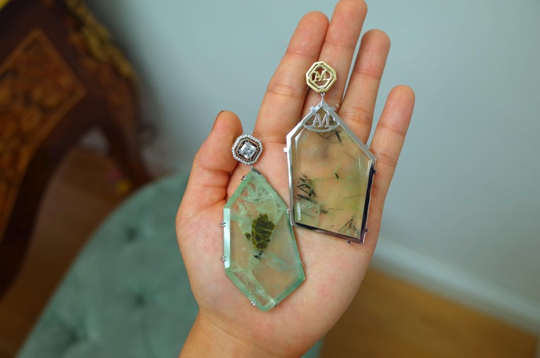 Alexandra Mor Asscher-Cut Diamond and Prehnite Precious Stone Earrings In New Condition For Sale In New York, NY