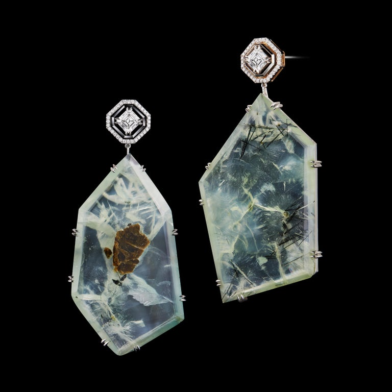 A pair of one-of-a-kind Alexandra Mor earrings featuring Asscher-cut Diamonds and Prehnite Precious Stones. Earrings are complemented by Alexandra Mor signature floating Diamond melee weighing 0.32 carats, and knife-edged wire detail. Asscher-cut