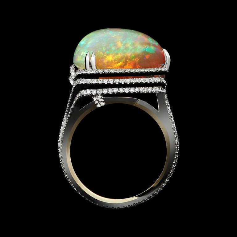 Contemporary Alexandra Mor 13.07 Carat Checkerboard - Harlequin Opal and Diamond Ring For Sale