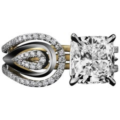 Alexandra Mor Asscher-Cut Diamond Feather Ring , 2.85 G VS1 GIA