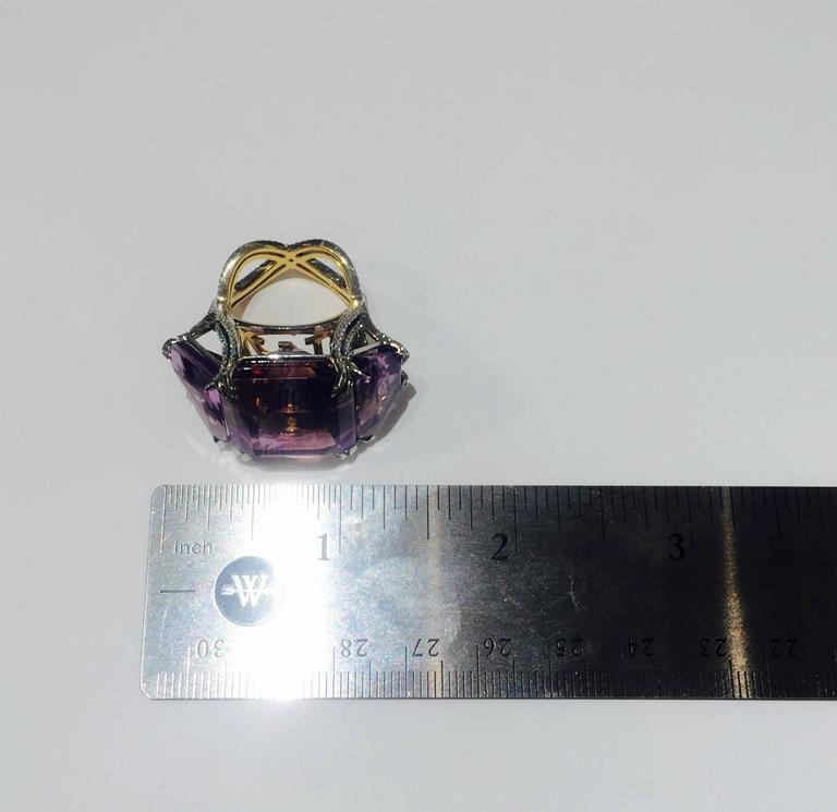 Alexandra Mor Asymmetrical Bi-Color Ametrine and Diamond Ring For Sale 2