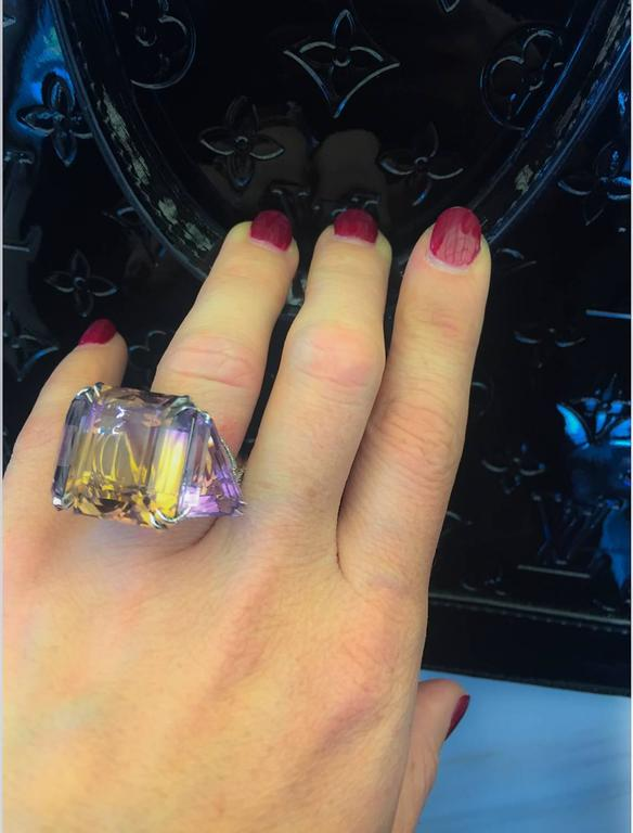 Alexandra Mor Asymmetrical Bi-Color Ametrine and Diamond Ring For Sale 5