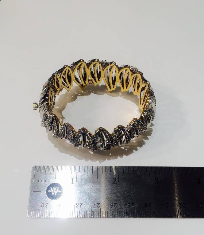 Opal Cabochon Diamond Gold Platinum Curved Cuff Bracelet 4