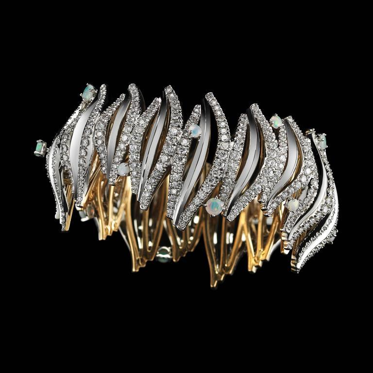 Opal Cabochon Diamond Gold Platinum Curved Cuff Bracelet 2