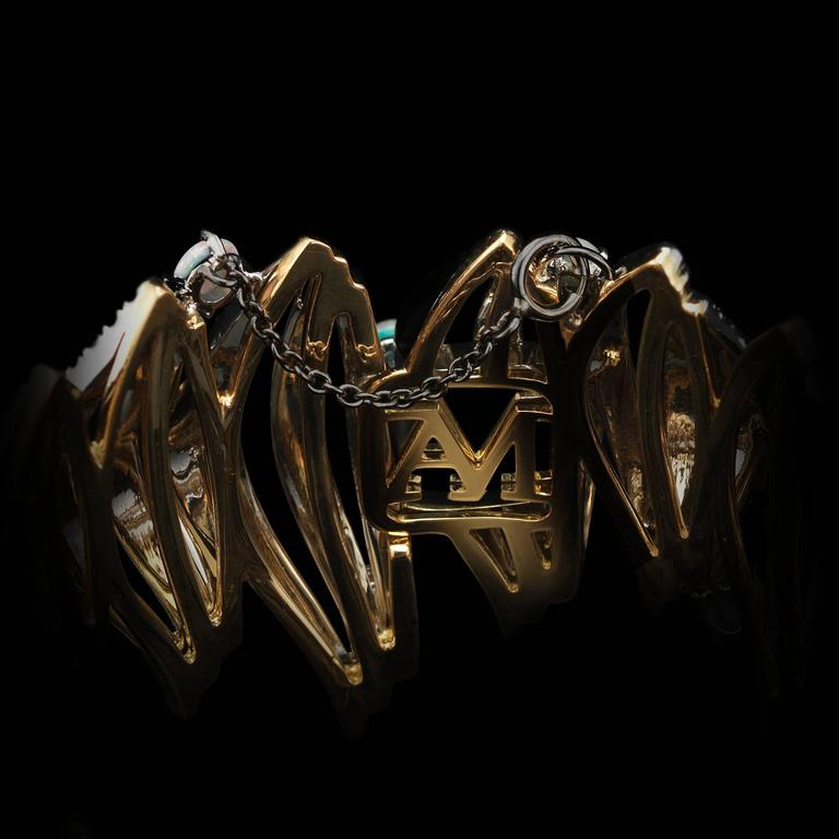 Opal Cabochon Diamond Gold Platinum Curved Cuff Bracelet 3