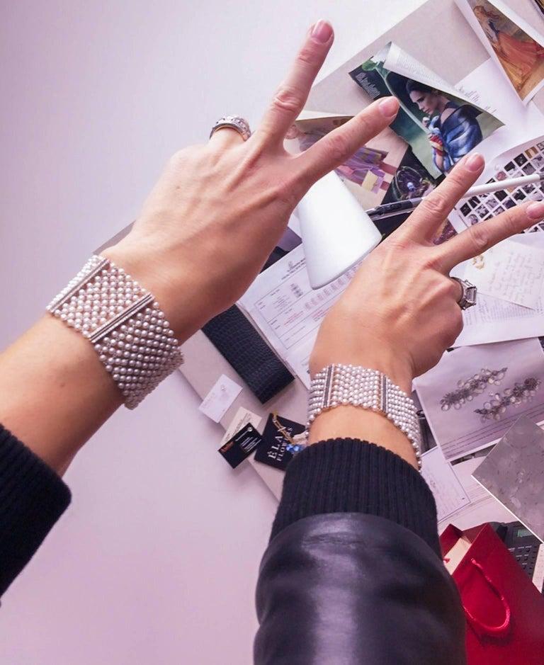 Women's Alexandra Mor Pearl-Mesh Diamond Cuff Bracelet Pair For Sale