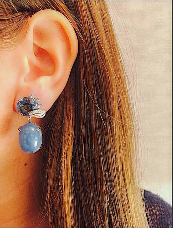 Contemporary Alexandra Mor London Blue Topaz Aquamarine Cabochon Medi Leaf Dangling Earrings For Sale